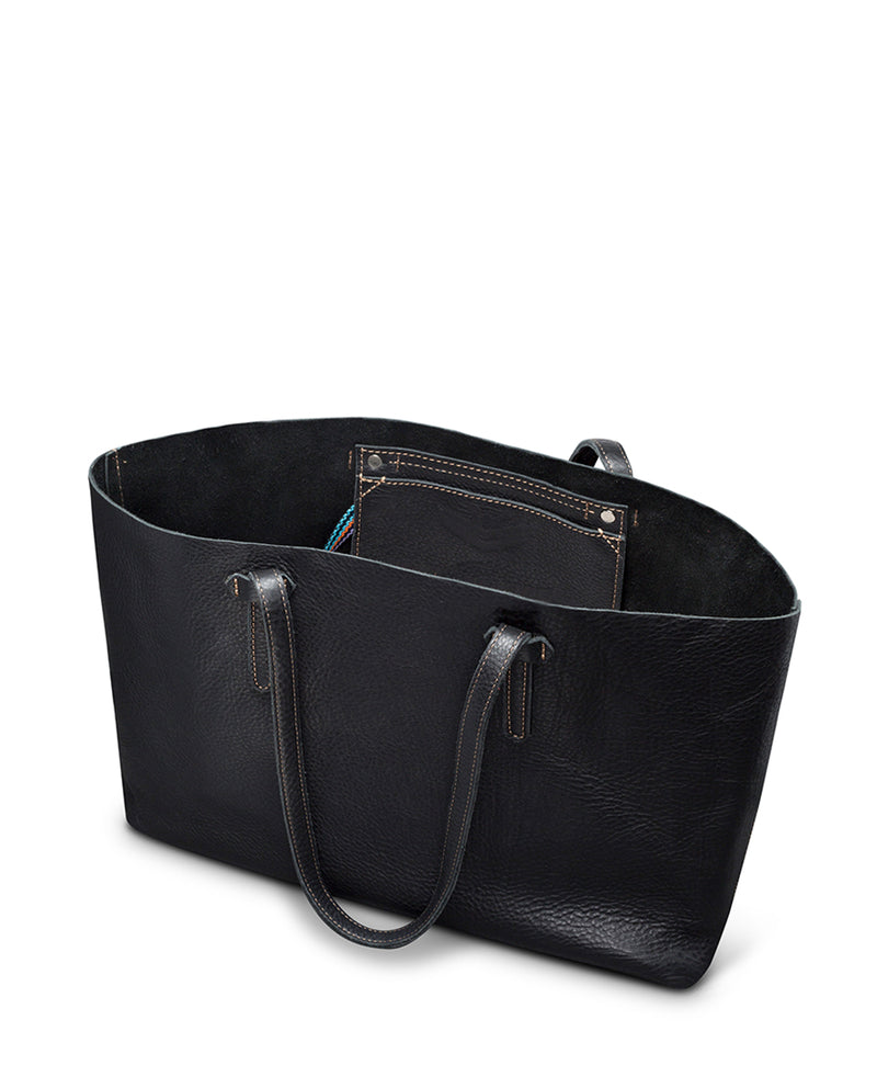 Evie Breezy East West Tote in black pebbled leather by Consuela, interior view