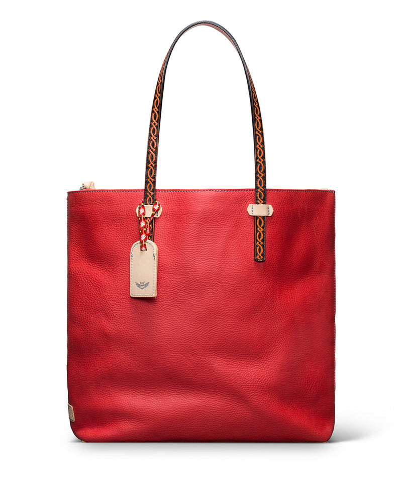 Valentina Market Tote in red pebbled leather by Consuela, front view