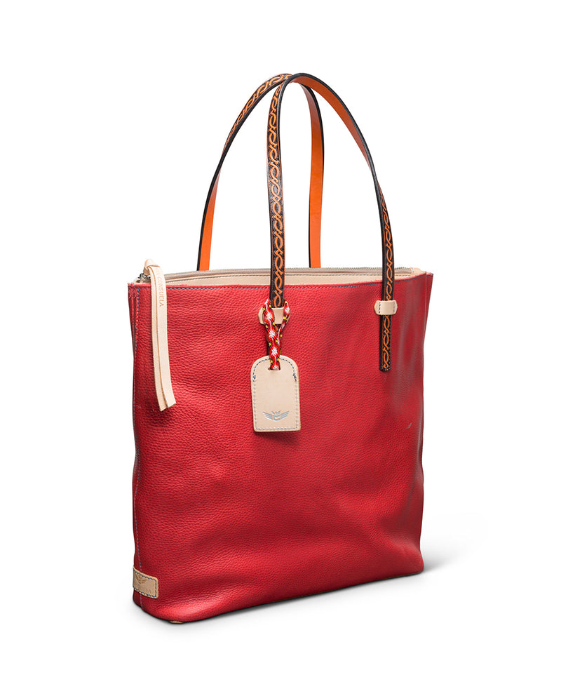 Valentina Market Tote in red pebbled leather by Consuela, side view
