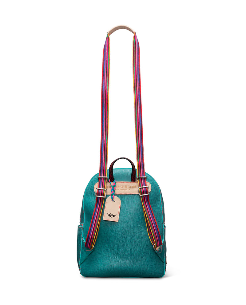 Guadalupe turquoise leather backpack by Consuela, back view