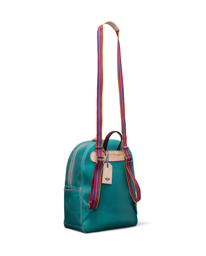 Guadalupe turquoise leather backpack by Consuela, side view