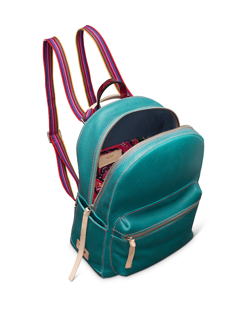 Guadalupe turquoise leather backpack by Consuela, interior view