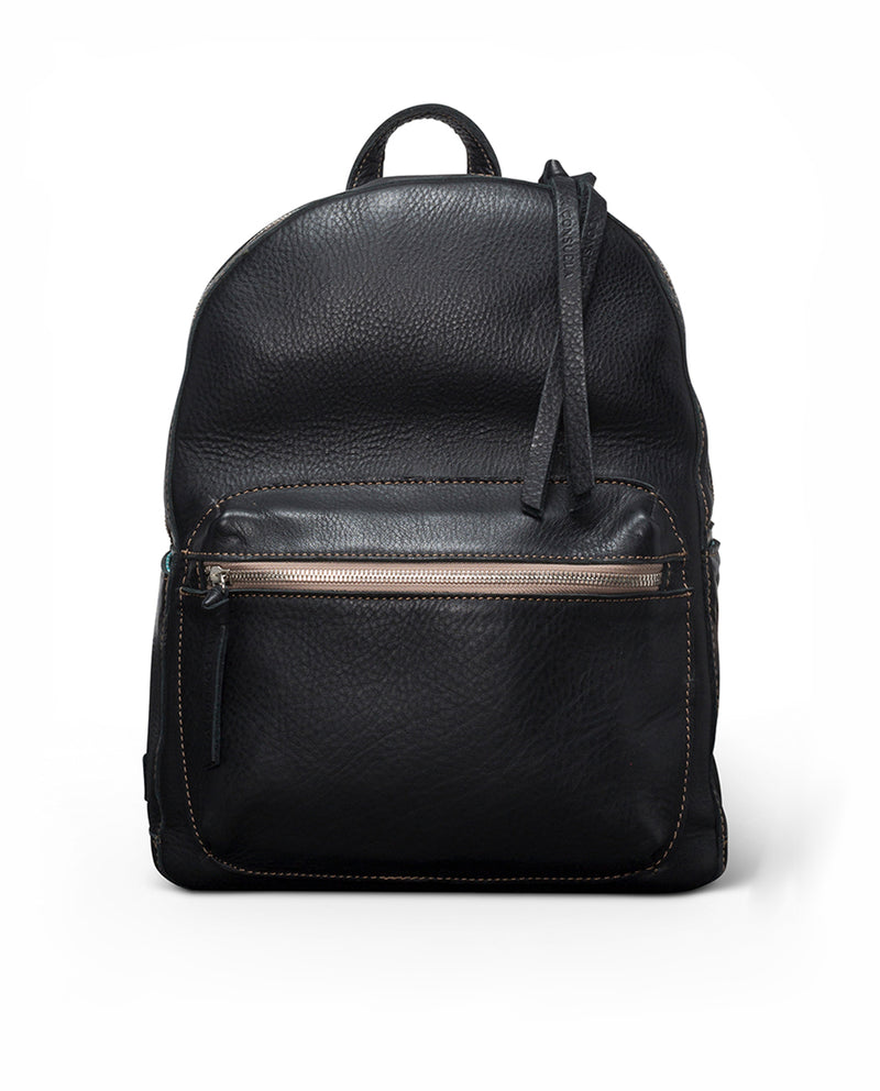 Evie Backpack in black pebbled leather by Consuela, front view