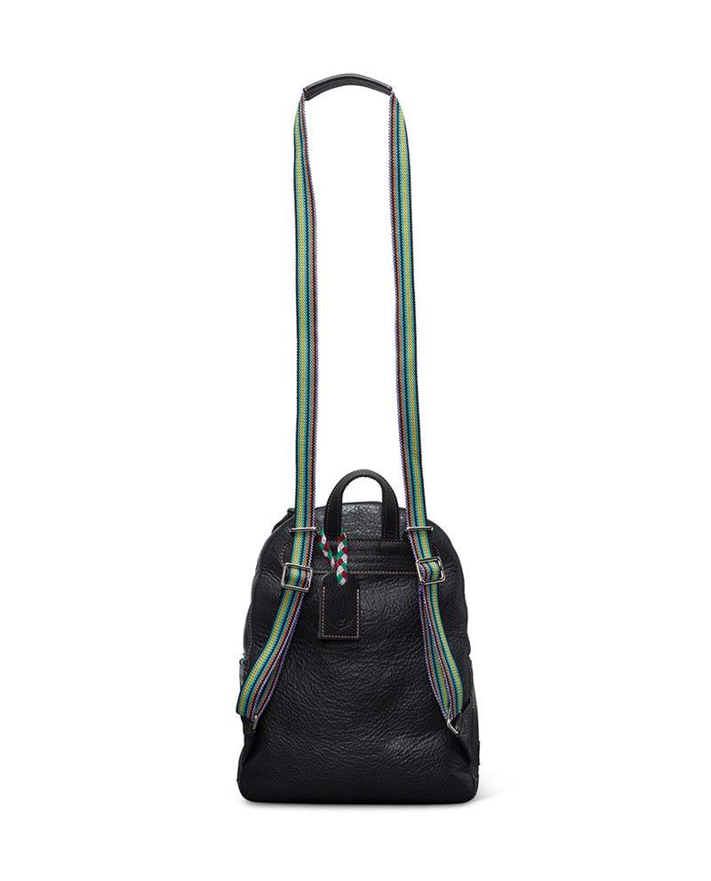 Evie Backpack in black pebbled leather by Consuela, back view