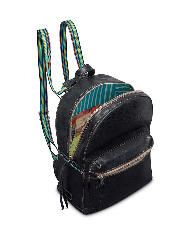 Evie Backpack in black pebbled leather by Consuela, interior view