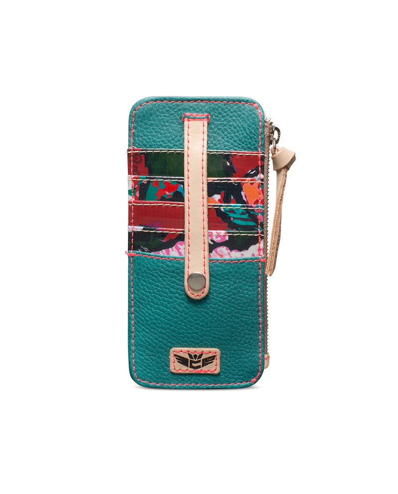 Guadalupe Card Organizer in turquoise leather by Consuela, front view