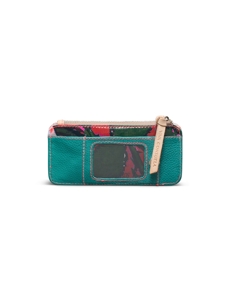 Guadalupe Card Organizer in turquoise leather by Consuela, back view