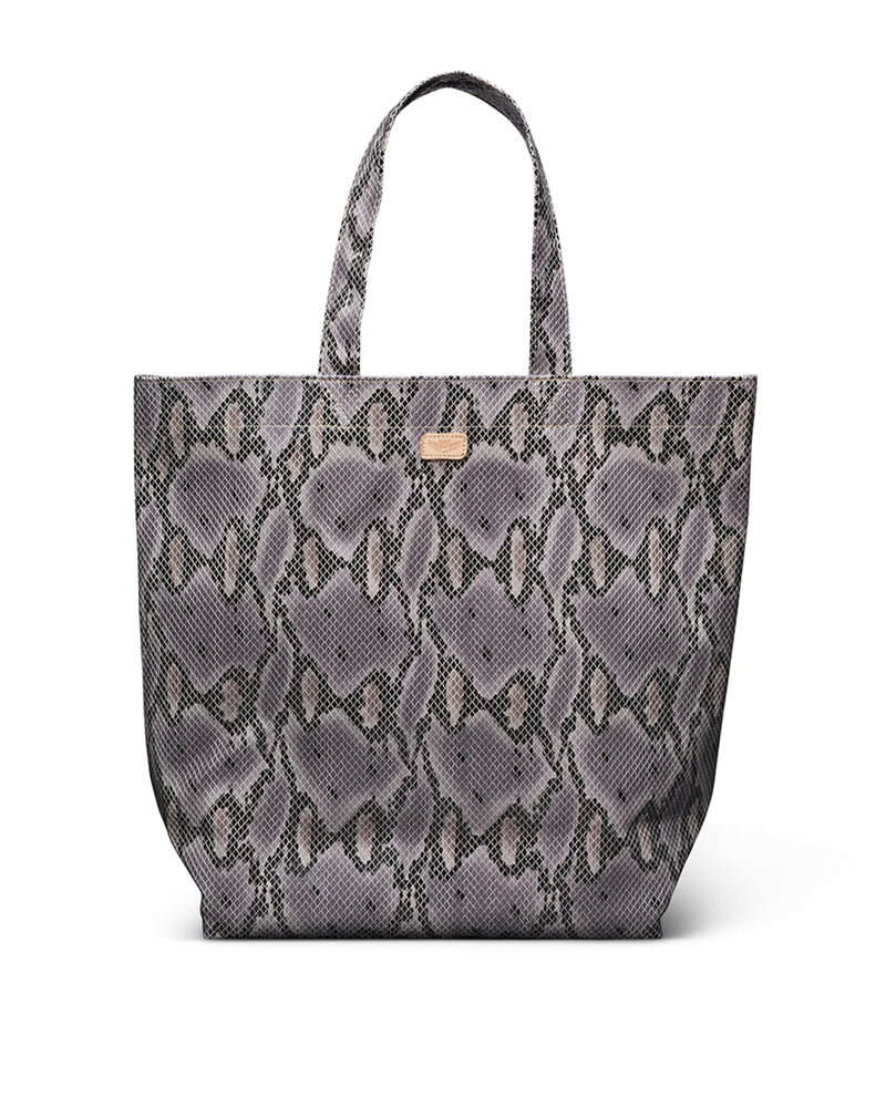 Flynn Basic Bag in snake print by Consuela, front view