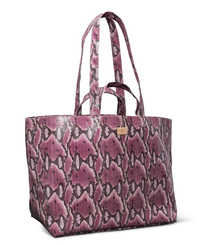 Aurora Jumbo Bag in pink snake print by Consuela, side view