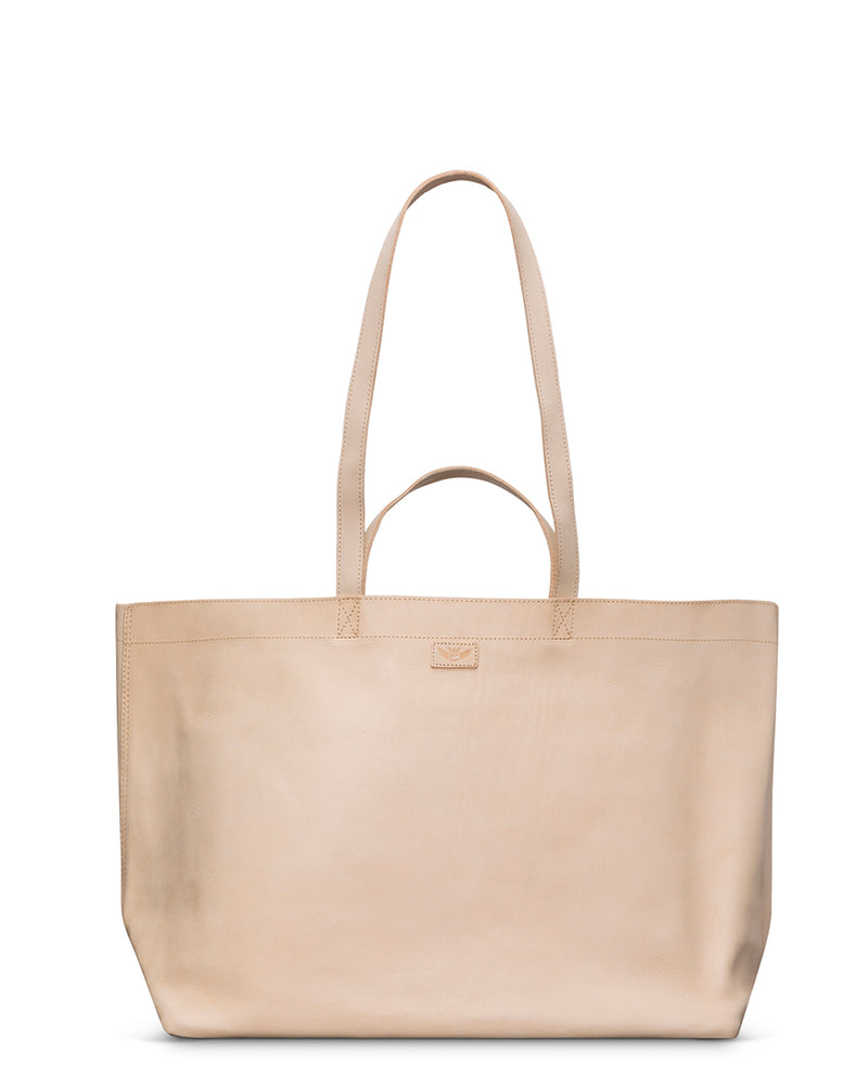 Diego Jumbo Bag in natural untreated leather by Consuela, front view