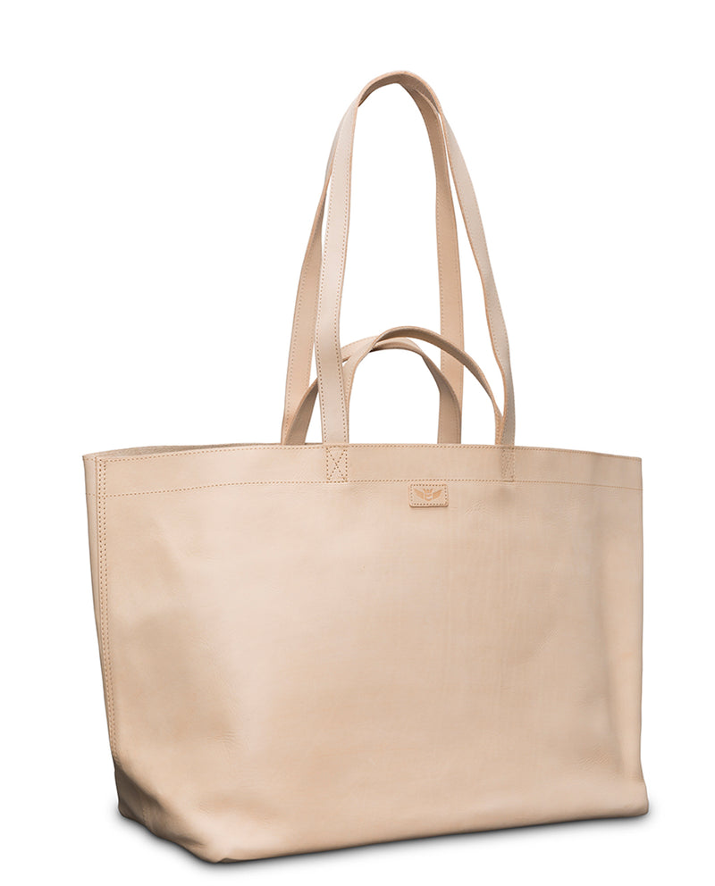 Diego Jumbo Bag in natural untreated leather by Consuela, side view