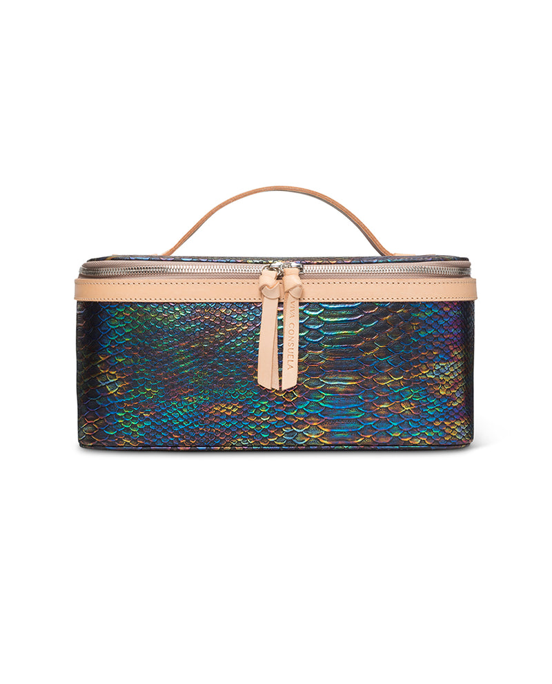 Sirena train case in snake print by Consuela, front view