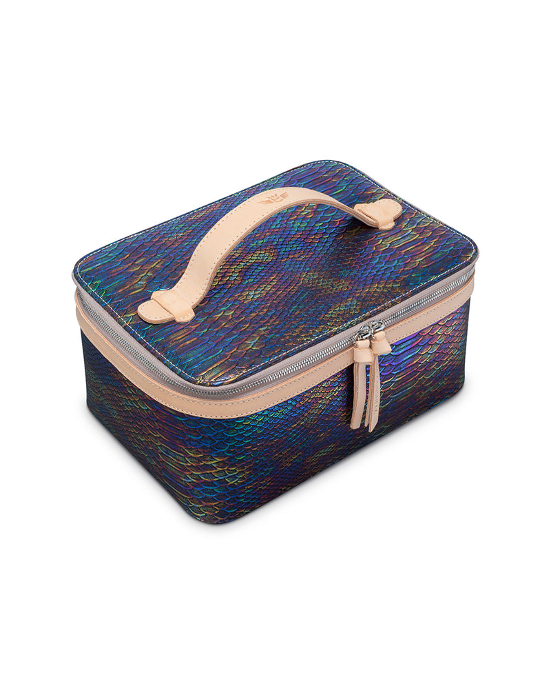 Sirena train case in snake print by Consuela, top view