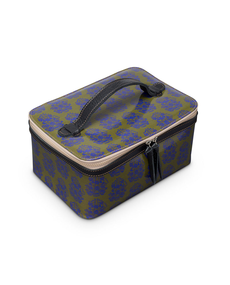Olive Train Case in ConsuelaCloth™ by Consuela, top view