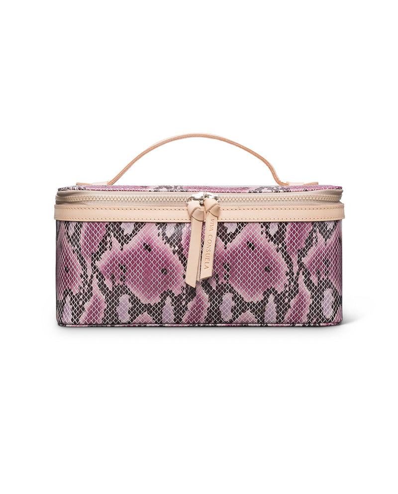 Aurora Train Case in pink snake print by Consuela, front view