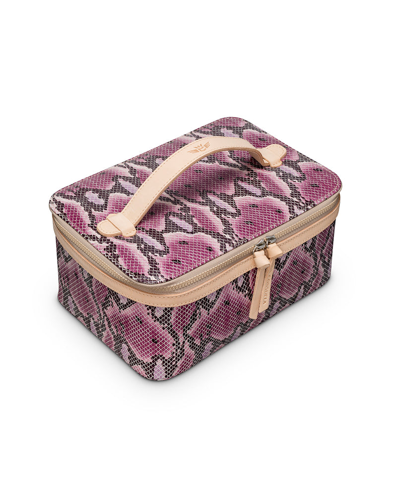 Aurora Train Case in pink snake print by Consuela, top view