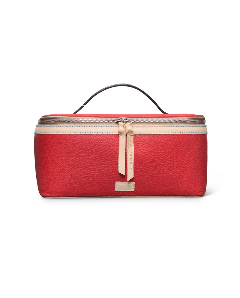 Valentina Train Case in red leather by Consuela, front view