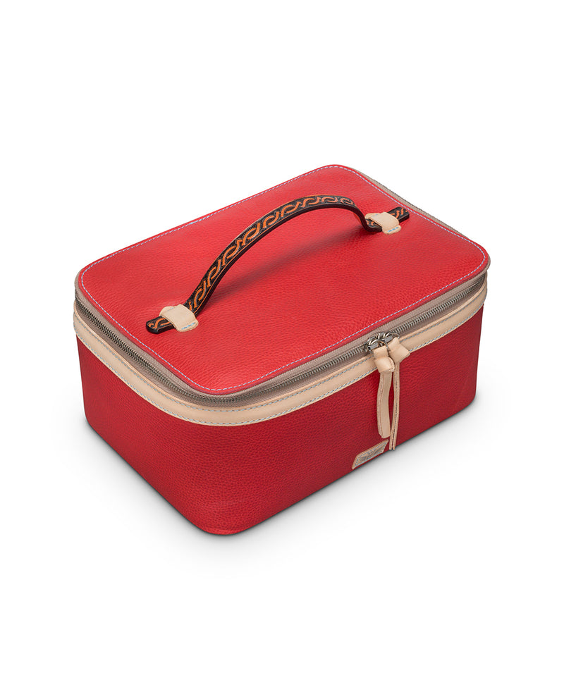 Valentina Train Case in red leather by Consuela, top view