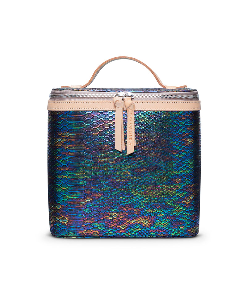 Sirena Slim Train Case in snake print by Consuela, front view