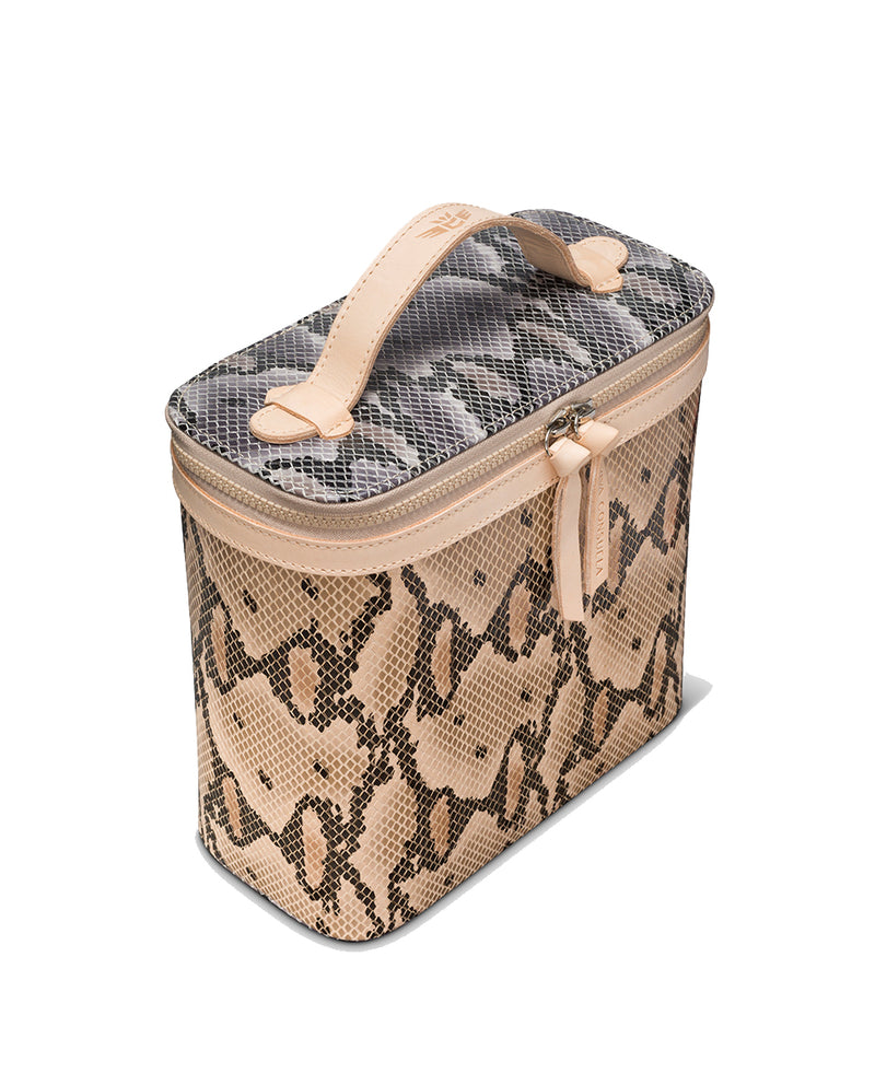 Margot Slim Train Case in snake print by Consuela, side view