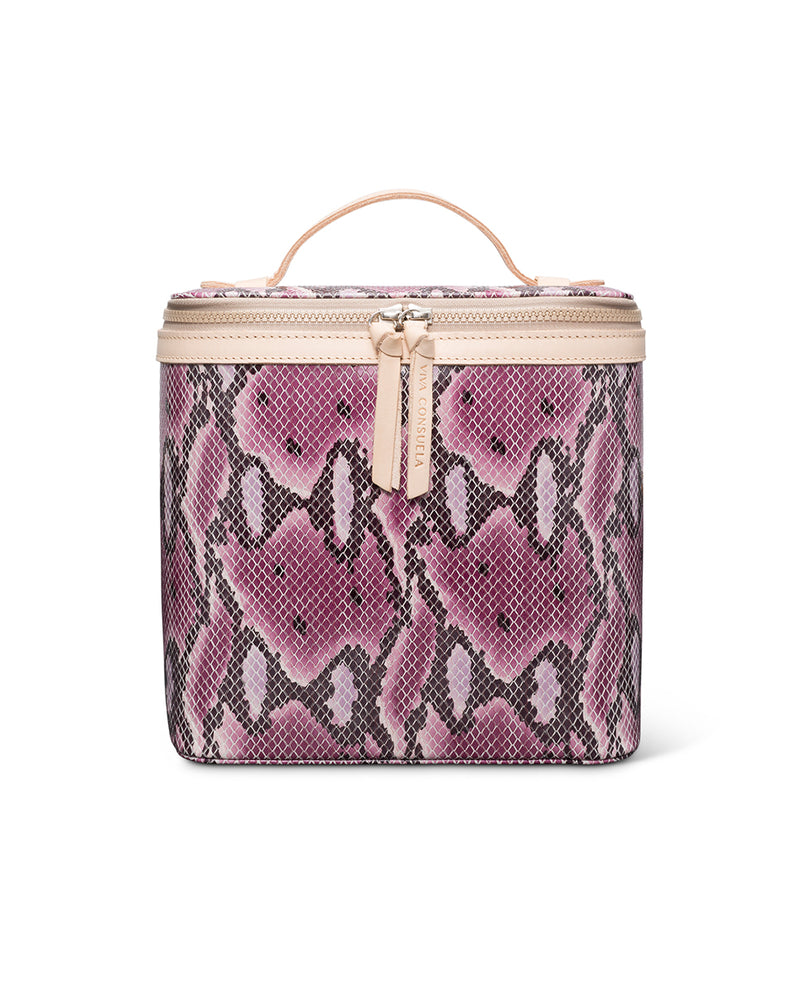 Aurora Slim Train Case in snake print by Consuela, front view