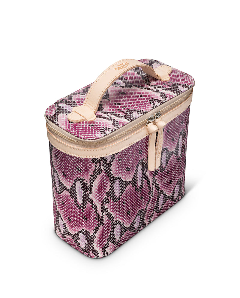 Aurora Slim Train Case in snake print by Consuela, side view