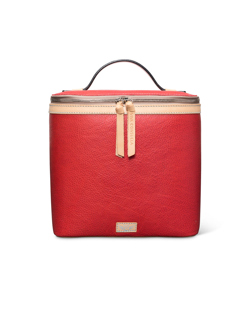 Valentina slim train case in red leather by Consuela, front view