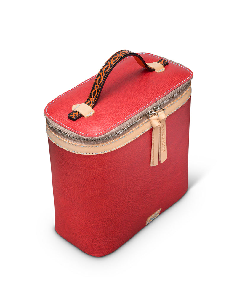 Valentina slim train case in red leather by Consuela, side view