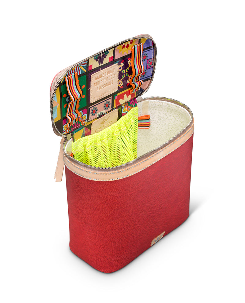 Valentina slim train case in red leather by Consuela, interior view