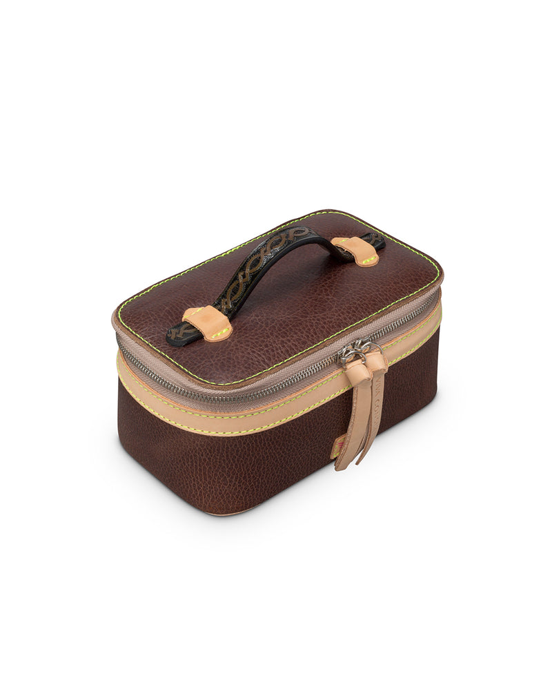 Magdalena Mini Train Case in leather by Consuela, top view