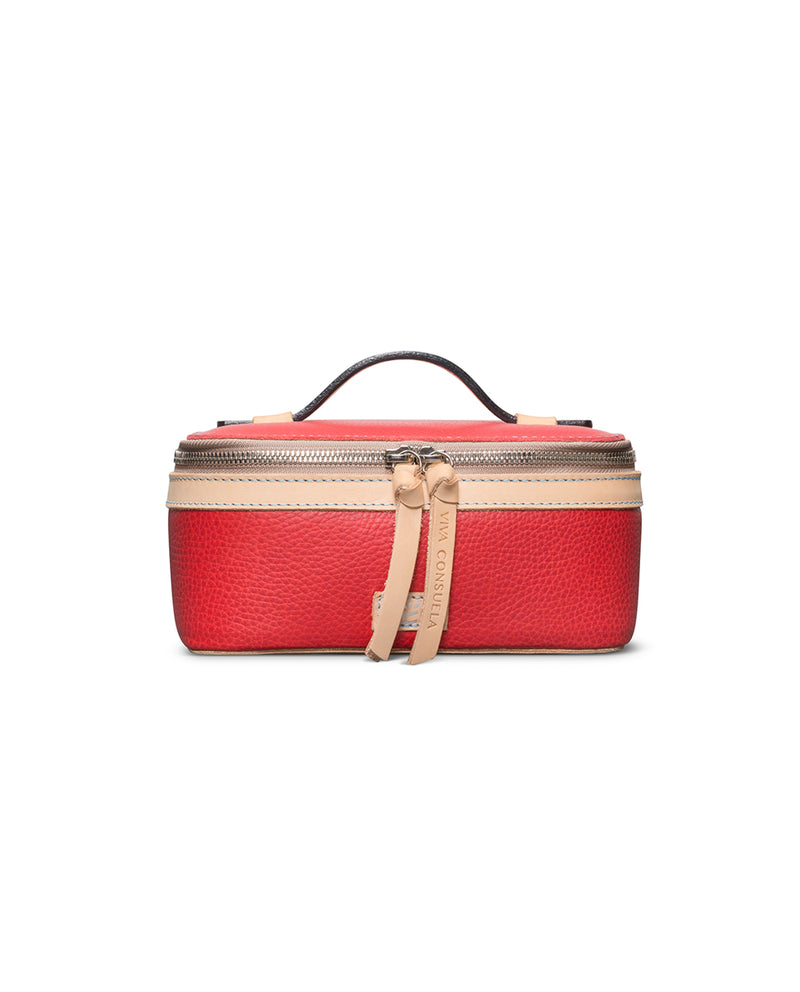 Valentina Mini Train Case in red leather by Consuela, front view