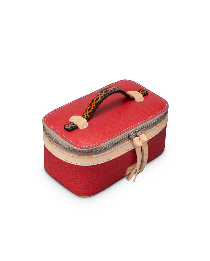 Valentina Mini Train Case in red leather by Consuela, top view