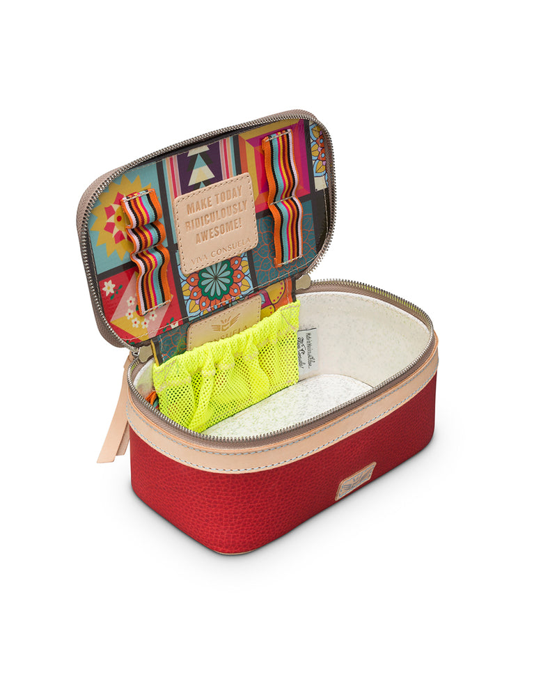 Valentina Mini Train Case in red leather by Consuela, interior view