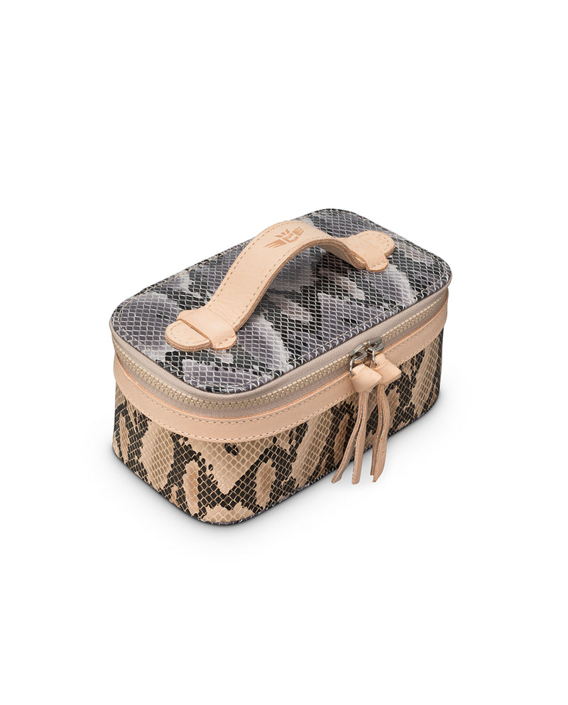 Margot Mini Train Case in snake print by Consuela, front view