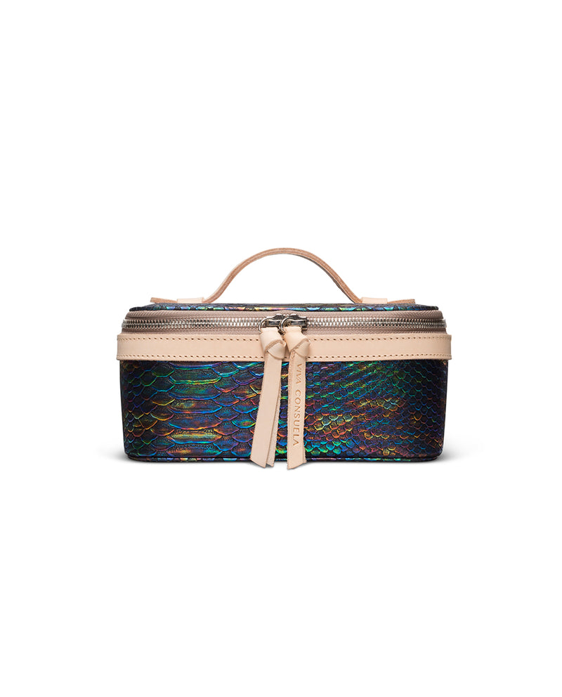 Sirena Mini Train Case in snake print by Consuela, front view