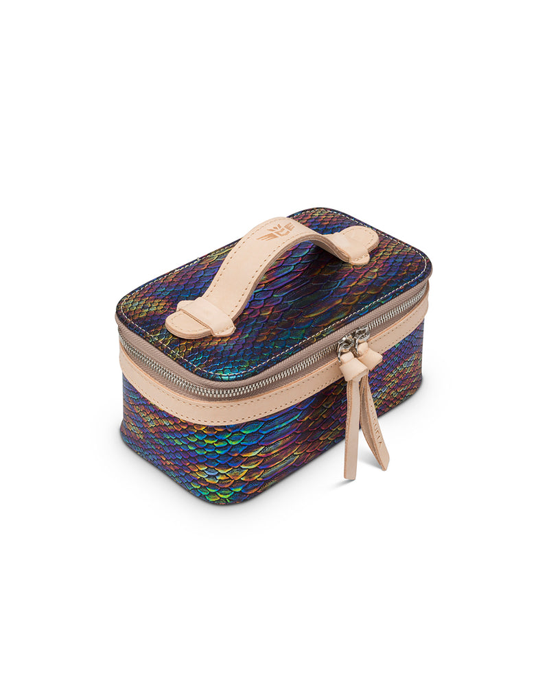 Sirena Mini Train Case in snake print by Consuela, top view