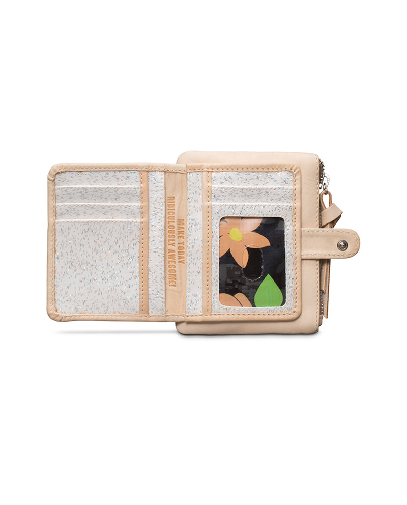 Diego Teeny Slim Wallet in natural leather, open view