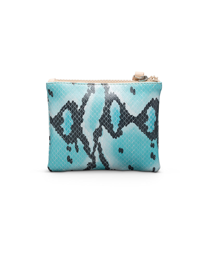 Carmen Teeny Slim Wallet in snake print by Consuela, back view