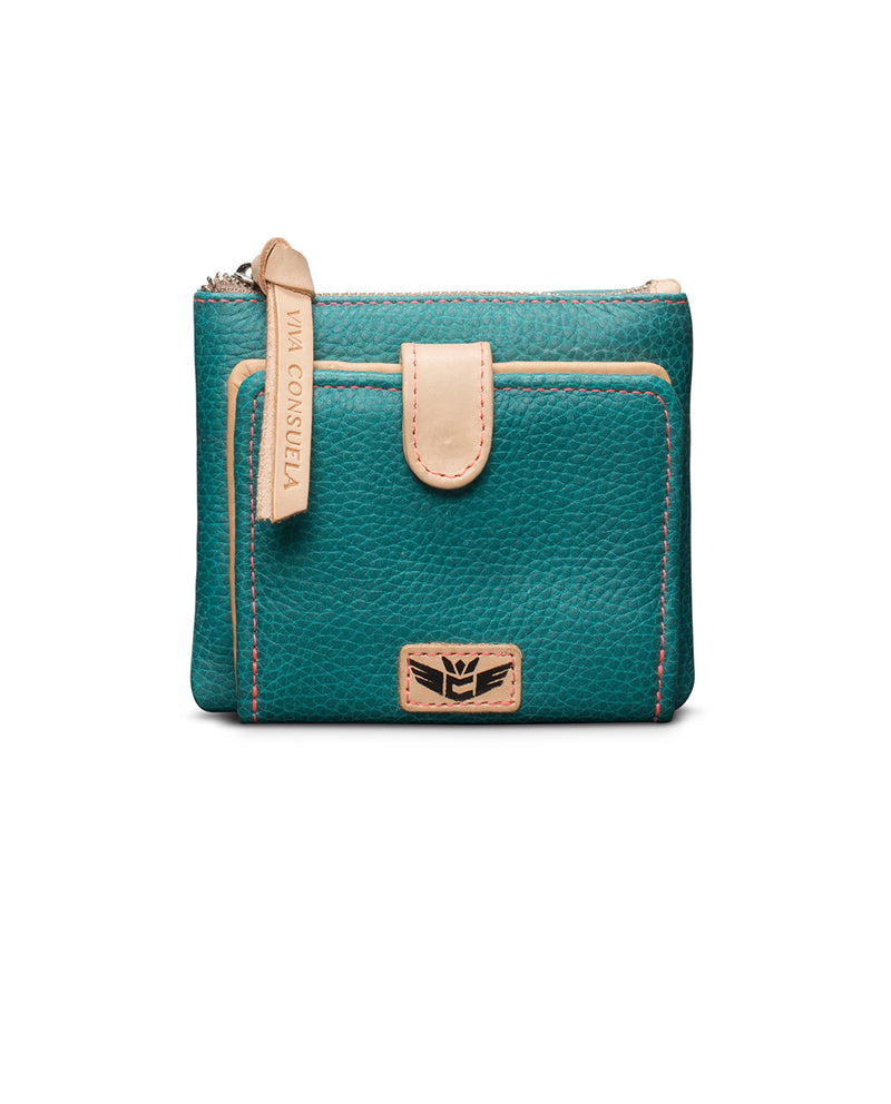 Guadalupe Bifold Wallet in turquoise leather by Consuela, front view