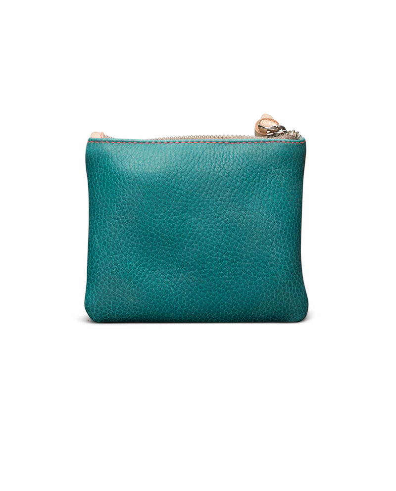 Guadalupe Bifold Wallet in turquoise leather by Consuela, back view