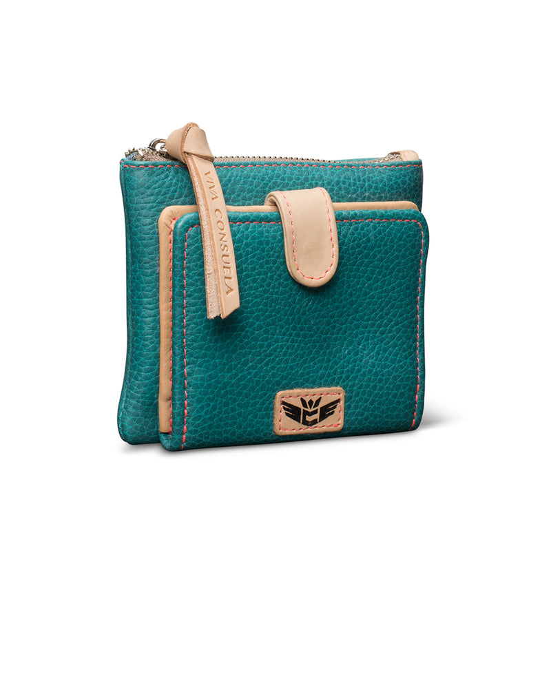 Guadalupe Bifold Wallet in turquoise leather by Consuela, side view