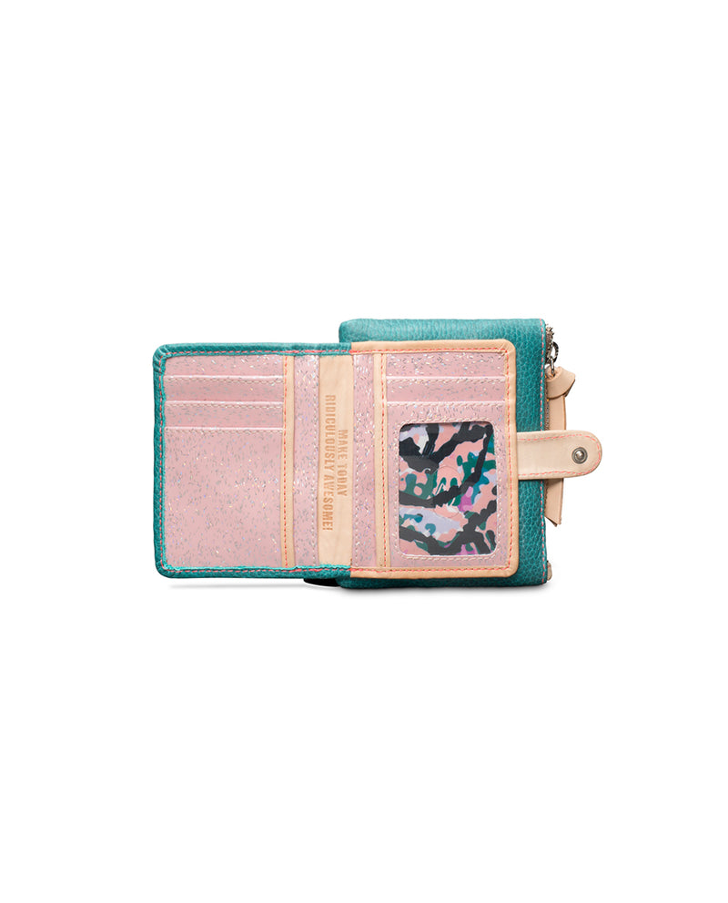 Guadalupe Teeny Slim Wallet in turquoise leather by Consuela, open view