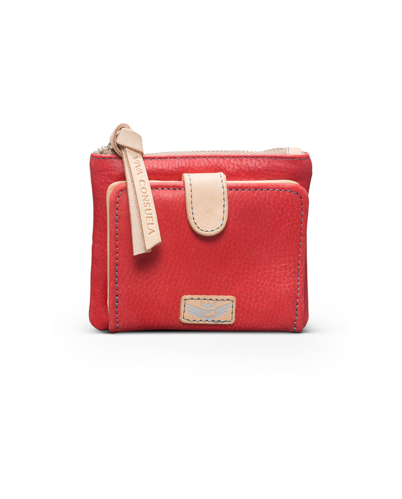 Valentina Teeny Slim Wallet in red leather by Consuela, front view