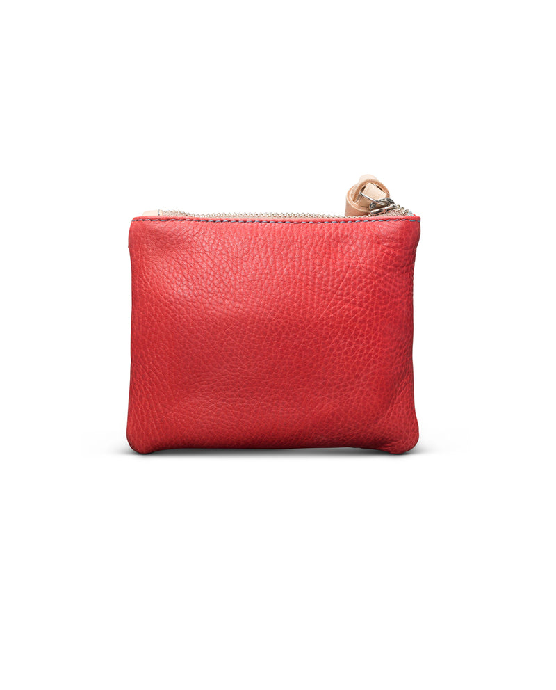 Valentina Teeny Slim Wallet in red leather by Consuela, back view