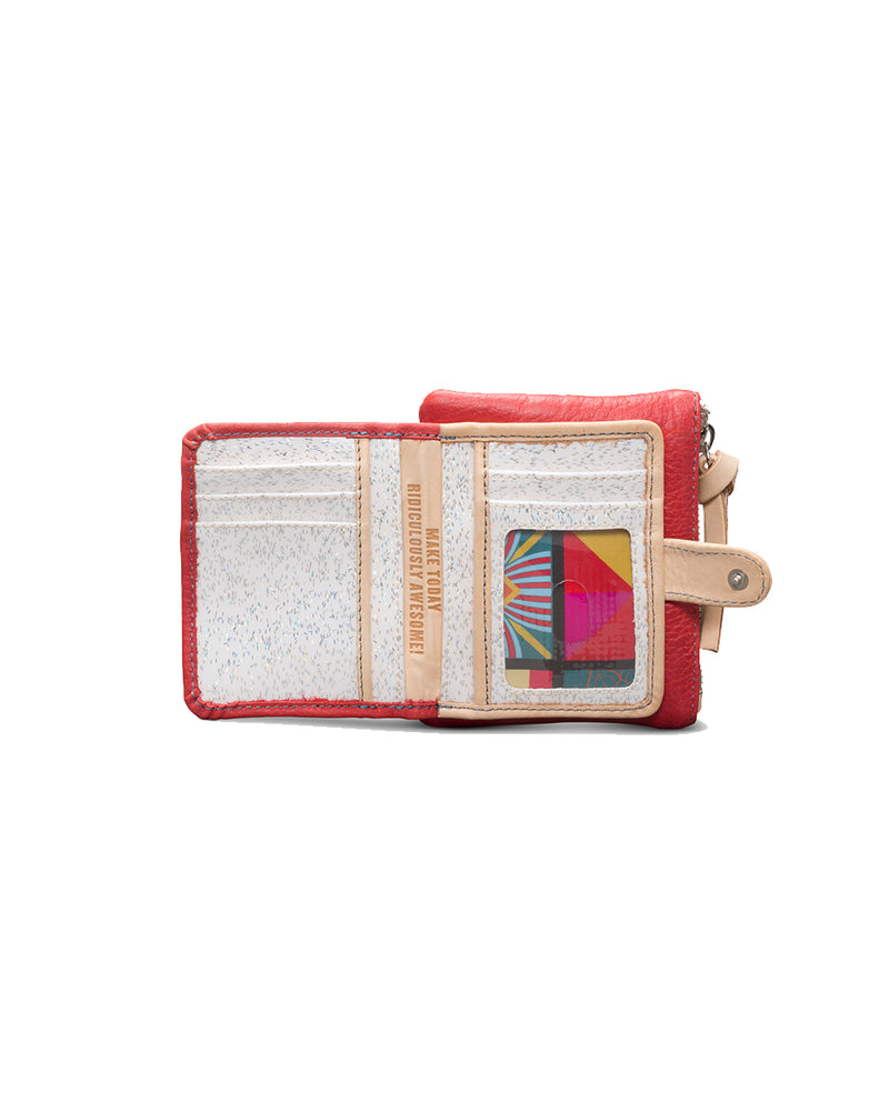 Valentina Teeny Slim Wallet in red leather by Consuela, open view