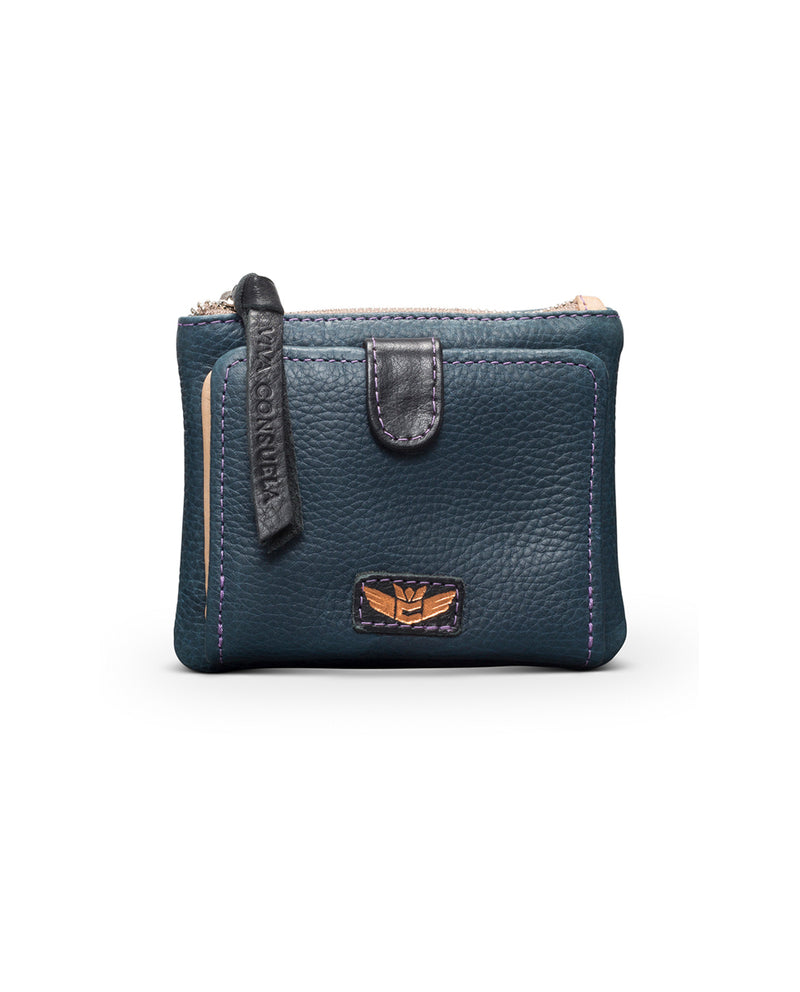 Adelita Bifold Wallet in navy pebbled leather by Consuela, front view