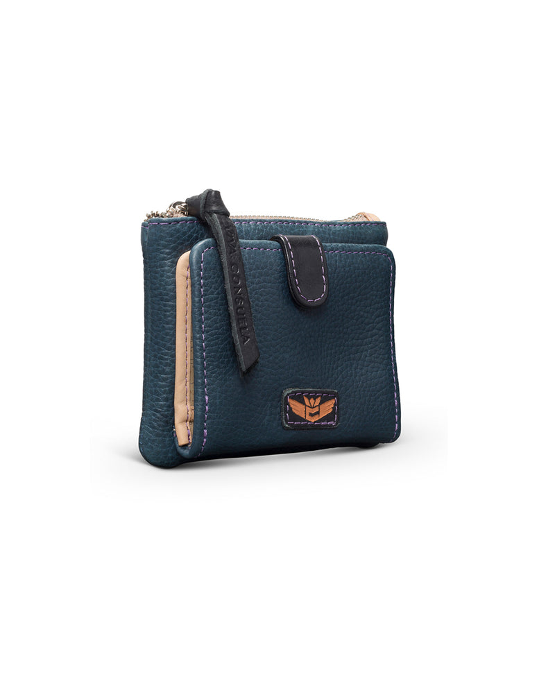 Adelita Bifold Wallet in navy pebbled leather by Consuela, side view