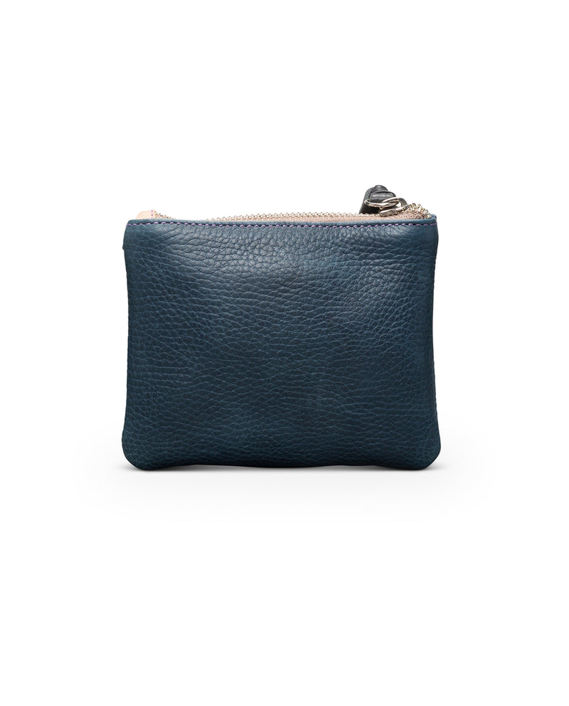 Adelita Bifold Wallet in navy pebbled leather by Consuela, back view