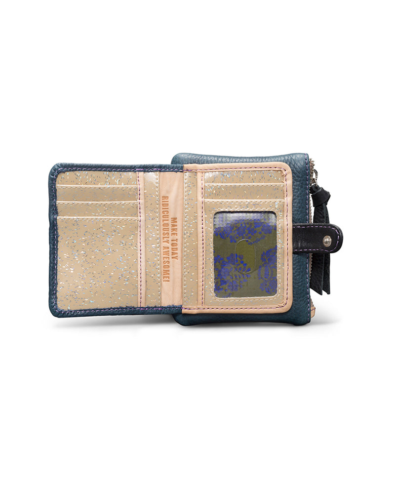 Adelita Teeny Slim Wallet in navy leather by Consuela, open view