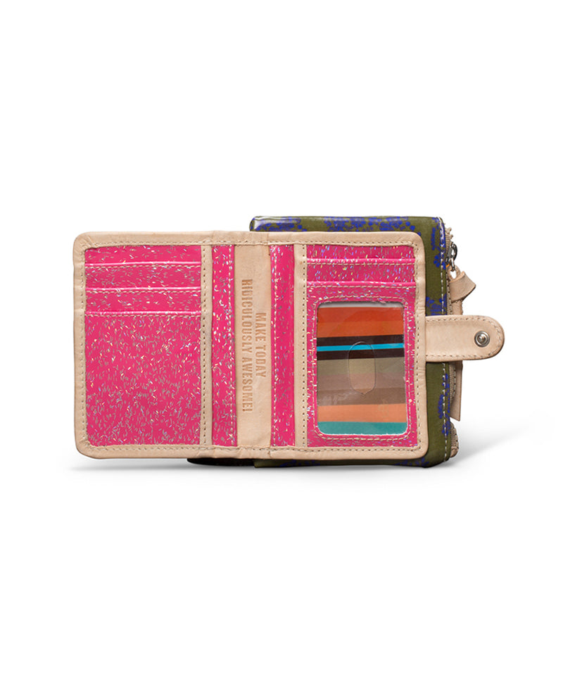 Olive Teeny Slim Wallet in ConsuelaCloth™by Consuela, open view